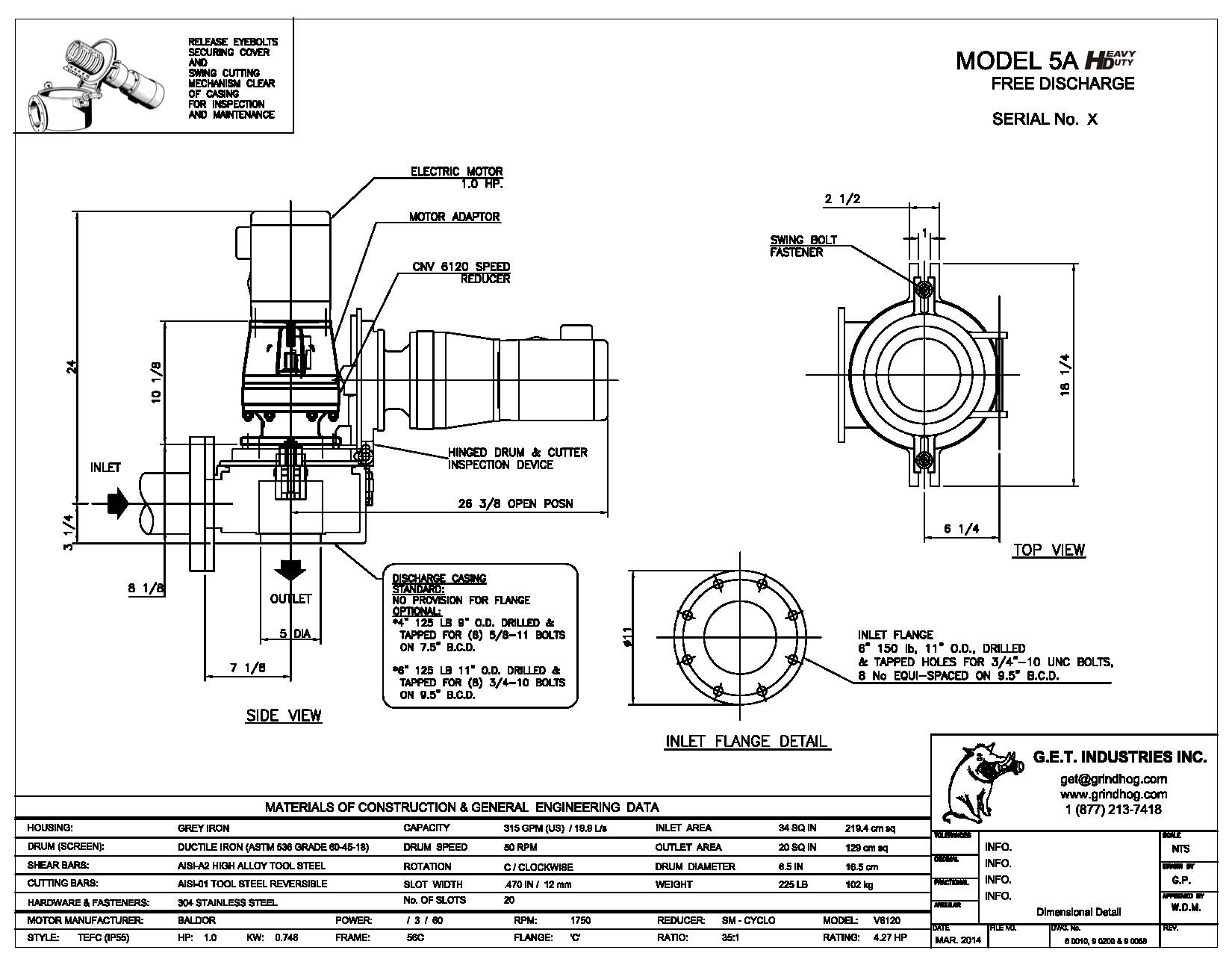 data drawing for Model 5A