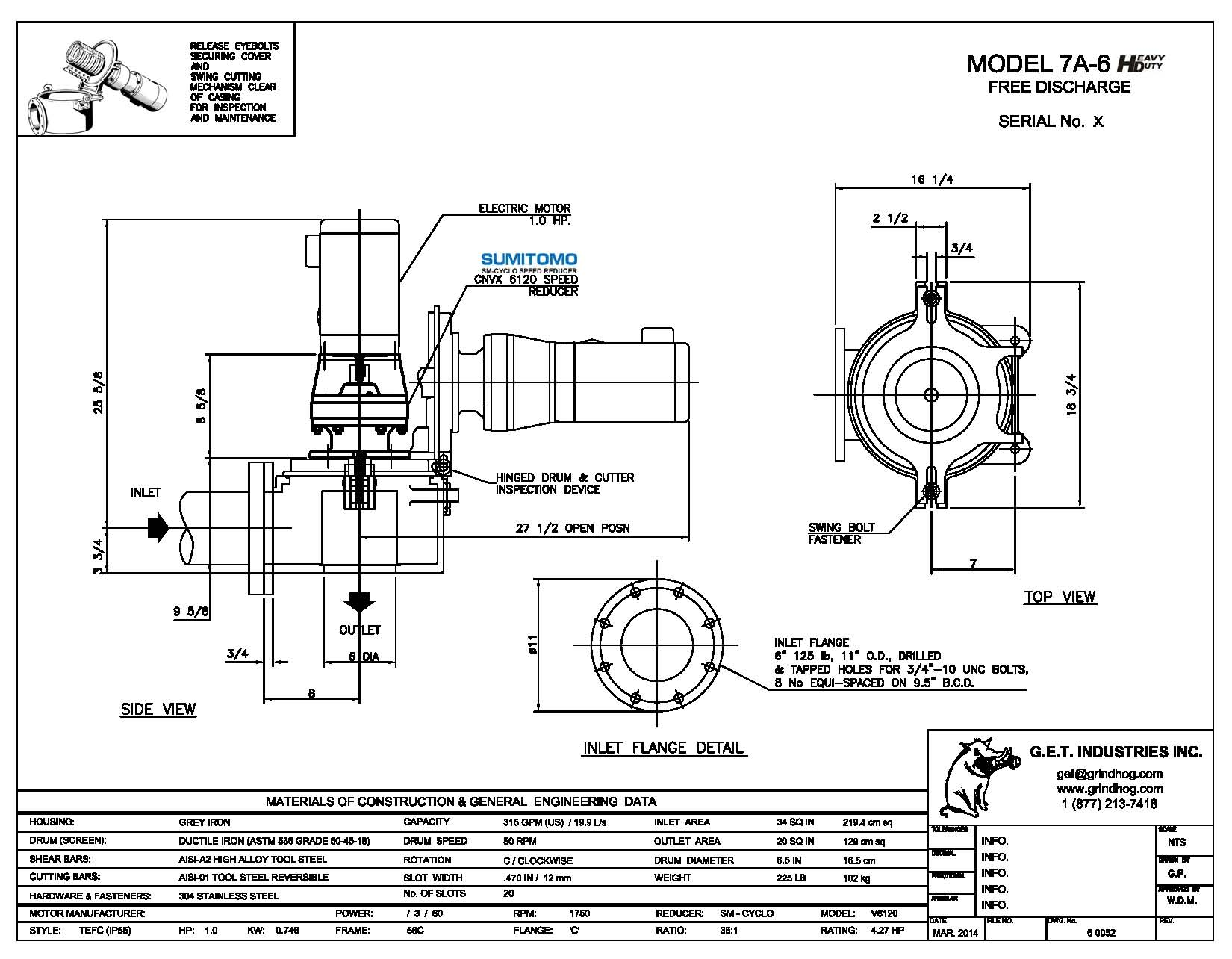 data drawing for Model 7A-6